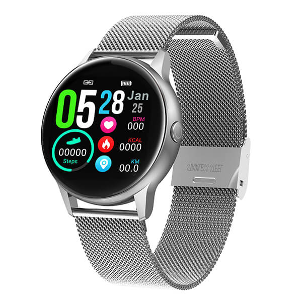 Smartwatch No.1 DT88 Blood Oxygen Pressure Heart Rate Monitor - Steel Silver