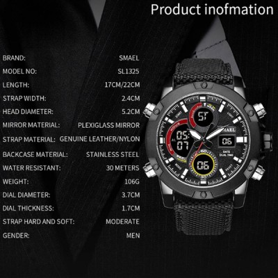 SMAEL 1325 Watch Dual Display - Black image