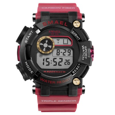 SMAEL 1638 Sports Watch Digital Display - Red