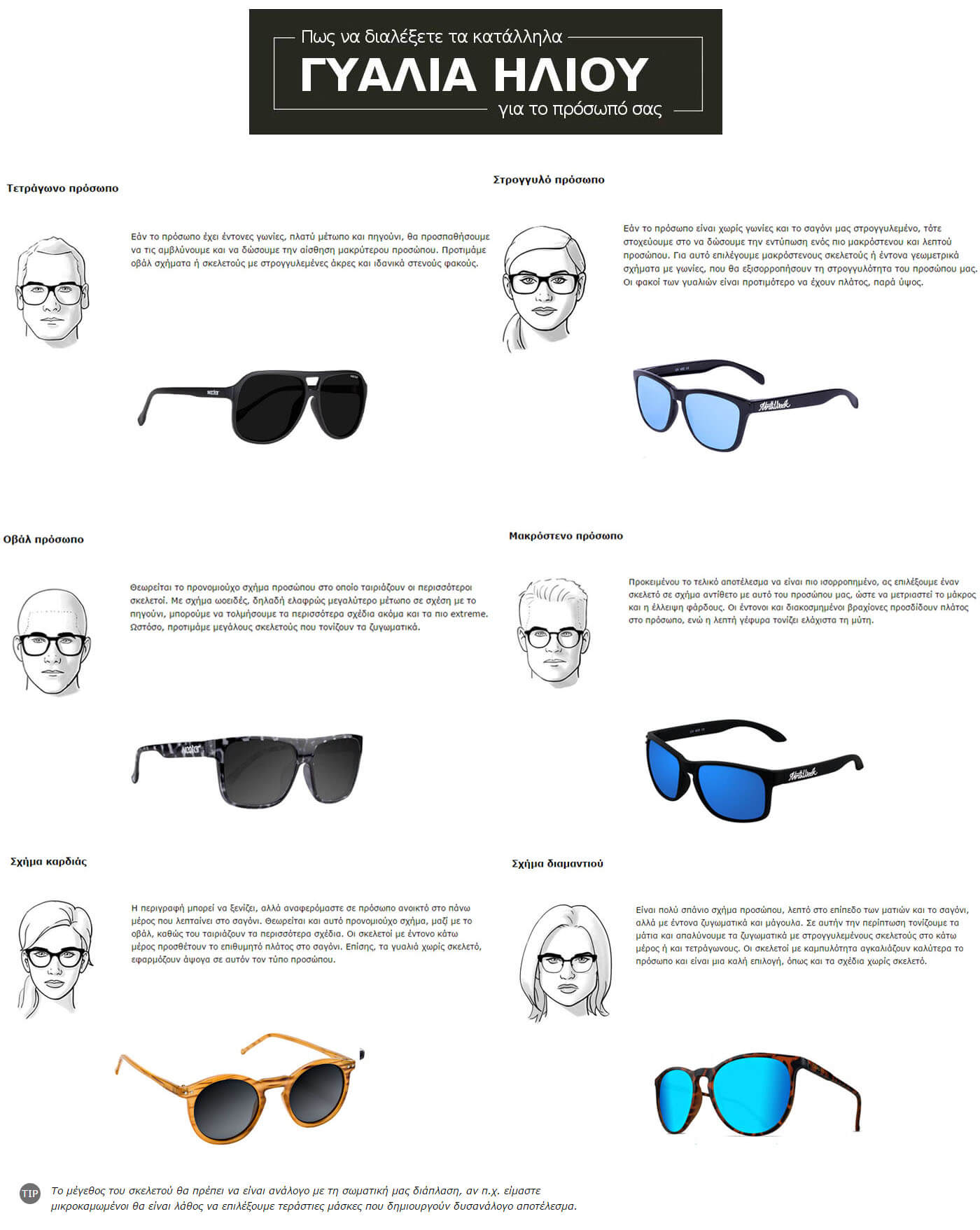 Εδώ θα βρείτε οδηγίες που θα σας βοηθήσουν να διαλέξετε το κατάλληλο  ζευγάρι γυαλιών ηλίου για το πρόσωπο σας! c4874ed6d59